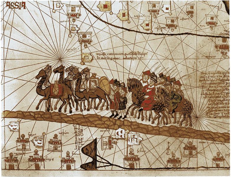 A manuscript image showing camels and horses.