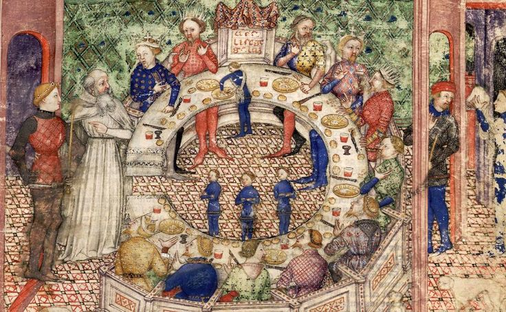 A medieval image of a banquet.