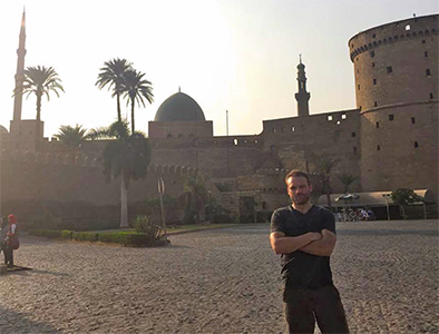 Pearson at the Citadel of Sultan Saladin al-Ayyuby and Mosque of Mohammed Ali in Cairo, Egypt.
