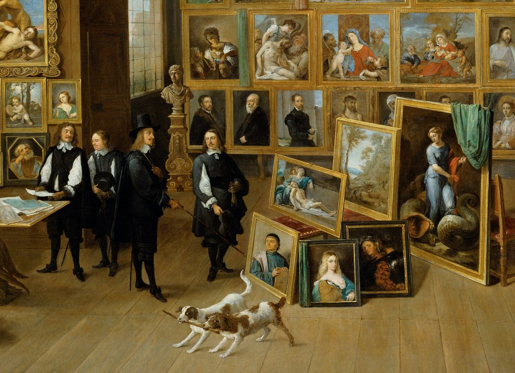 A 17th-century image of men surrounded by paintings in a gallery.
