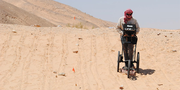 The site's Geoarchaeologist, Howard Cyr (UT Archaeological Research Laboratory) uses ground penetrating radar and a gradiometer to help reconstruct the natural history of the site and reconstruct the built landscape during the Byzantine period.