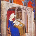 Medieval image of a woman writing.