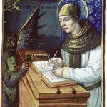 Image of a medieval scribe writing in a book