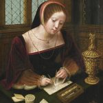 Painting of a woman writing