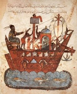 An image of a ship from a medieval manuscript