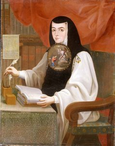 A painting of a woman with a book.