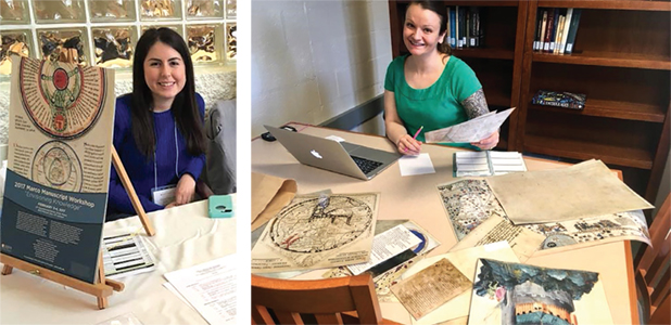 Pictured (left to right): Martha Valenzuela (English, spring 2017) staffing the registration table at the 2017 Manuscript Workshop and Kyrie Miranda (MFLL-Spanish, 2017-18) labelling manuscript facsimiles for Medieval Day.