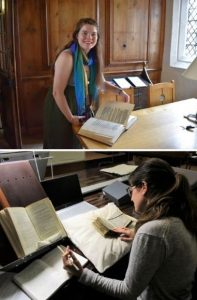 Two images of Marco graduate students examining manuscripts.