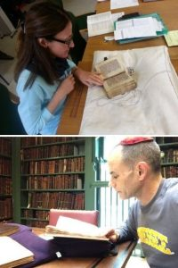 Two images of Marco-affiliated Faculty examining manuscripts.