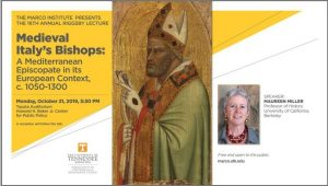 An image of the poster of the Riggsby Lecture. The central image is a medieval image of a bishop. The text gives the title, date, and location of the lecture, stated above.