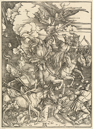 Albrecht Dürer (German, 1471 - 1528), The Four Horsemen, 1498, woodcut on laid paper, Patrons' Permanent Fund and Print Purchase Fund (Horace Gallatin and Lessing J. Rosenwald) 2008.109.5