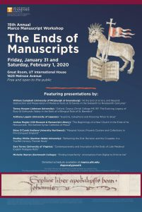 Poster for the 2020 Ends of Manuscripts Workshop