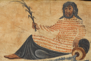 Illustration of the longest constellation in the sky, Eridanus or river god with his body formed of text or scholia.
