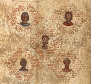 Manuscript image of five heads surrounded by text boxes