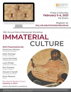 "Flyer for 2021 Manuscript Workshop ""Immaterial Culture"""