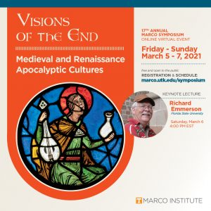 Image of medieval stained glass window and picture of Richard Emmerson with information about 2021 Symposium