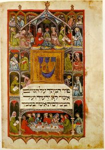 Image of people dining around a central text in Hebrew