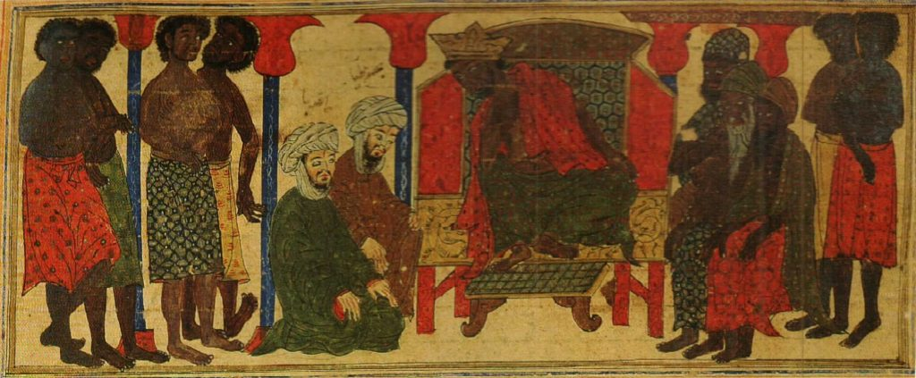 Two Muslim men in turbans kneeling before the court and throne of the ruler of Aksum
