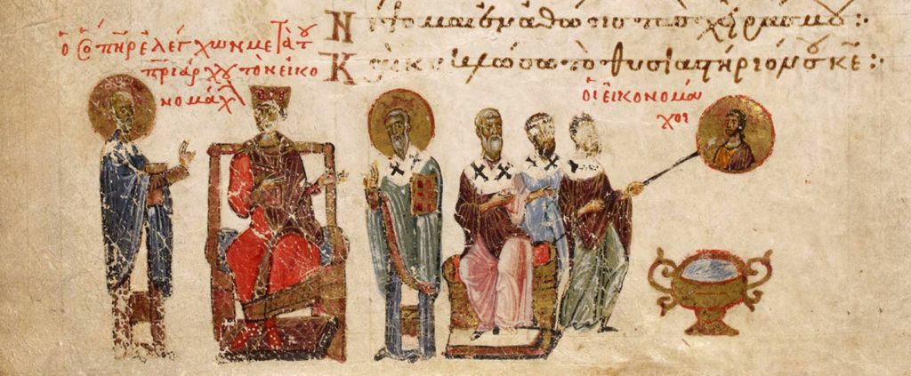 A group of holy men stand next to the enthroned king and appear to be marking out an icon